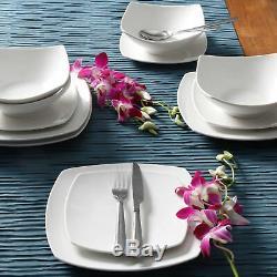 12-Piece Square Dinnerware Set Dinner Dessert Plates Bowls Ceramic White Dishes