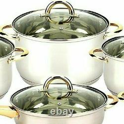 12 Pieces Stainless Steel Cookware Set With Gold Plated Handle Glass Lid, Silver