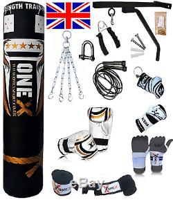 15 Piece Boxing Set 5ft Filled Heavy Punch Bag Gloves, Chains, Bracket, Kick new