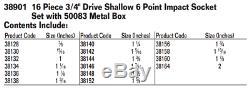 16-Piece 3/4 Drive Shallow 6-Pt Impact Socket Set with Metal Box, SAE, Williams