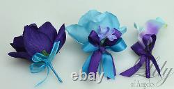 17 Piece Package Silk Flower Wedding Bridal Bouquet Sets PURPLE TURQUOISE MALIBU