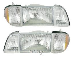 1987-1993 Mustang Stock Headlights 6 piece Set Amber Sides- SAE/DOT Approved