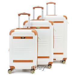 19V69 ITALIA Vintage Expandable Retro Spinner Luggage Set (3 Piece BK/GY/WH)