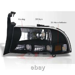 1PC Black Amber Headlights + Bumper Signal Lamps For 1997-2004 Dakota / Durango