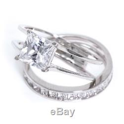 2 Ct Princess Cut 2-Piece Diamond Engagement Wedding Ring Set 14K White Gold