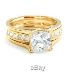 2 Ct Princess Cut 2-Piece Diamond Engagement Wedding Ring Set 14k Yellow Gold