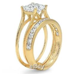2 Ct Princess Cut 2 Piece Engagement Wedding Ring Band Set Solid 14K Yellow Gold