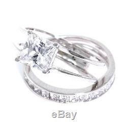2 Ct Princess Cut 2-Piece Solid 14K White Gold Engagement Wedding Ring Band Set