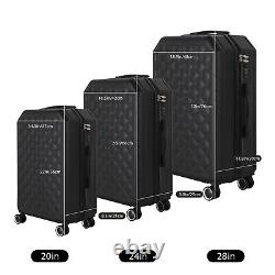 20/24/28 3 Piece Luggage Travel Set Bag ABS Trolley Hard Shell Suitcase Black