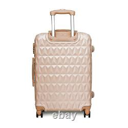 20/24/28 Small Large Suitcase Hard Shell Travel Trolley Hand Luggage Rose Gold