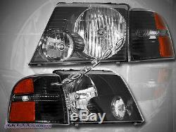 2002-2005 Ford Explorer Headlights + Black Corner Lights 4 PIECES SET 2003 2004