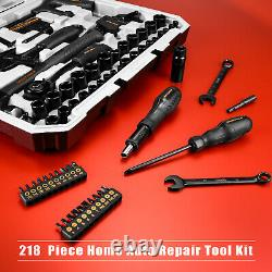218-Piece General Household Hand Tool Kit, Auto Repair Tool Set for Home DIY
