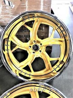 24 Rucci Forged Wheels set 4 2 piece Rims Staggered 24x9 24x10 Liquid Gold 24K