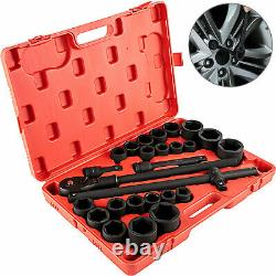 27 Pieces 3/4 Drive Impact Socket Set Metric withCASE, 6-Point, CR-V