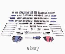 286-Piece Mechanics Tool Set Standard SAE and Metric Combination Polished Chrome