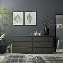 3 Piece Bedroom Set with 6-Drawer Double Dresser and Two Night Stands in Blac