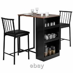 3 Piece Counter Height Pub Dining Set Kitchen Table & Chairs with Storage Espresso