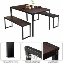 3 Piece Dining Table Set 2 Benches Wood Look Table Kitchen Dining Room Furniture