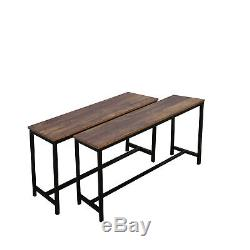 3 Piece Dining Table Set With2 Bench Glass Metal Kitchen Room Breakfast Furniture