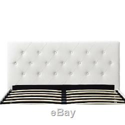 3 Piece Full Size Bedroom Set Furniture Modern Platform Bed 2 Nightstands White