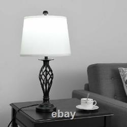 3-Piece Lamp Set 2 Table Lamps 1 Floor Lamp Fabric Shades for Living Room Home