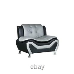 3 Piece Living Room Set with Sofa and 2 Armchairs in Black/Gray