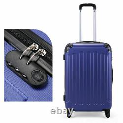 3 Piece Luggage Set Travel Trolley Suitcase ABS+PC Nested Spinner with Cover Blue