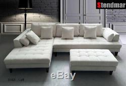 3-Piece Off White Modern Microfiber Sectional Sofa Set S168LW