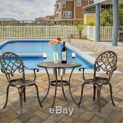 3-Piece Outdoor Cast Aluminum Patio Bistro Set Patio Furniture Table Chair Set