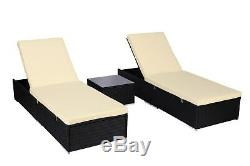 3 Piece PE Wicker Rattan Chaise Lounge Chair Bed Set Patio Furniture withTable NEW