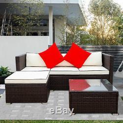 3 Piece Patio Sectional Wicker Rattan Outdoor Furniture Sofa Set Blue/Beige