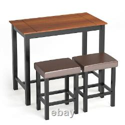 3 Piece Pub Table Set Counter Height Kitchen Breakfast Bar Dining Table withStools