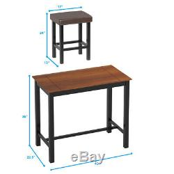 3 Piece Pub Table Set Counter Height Kitchen Dinner Bar Dining Home withStools