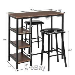 3 Piece Set Pub Table Bar Stools Dining Furniture Counter Height Chairs Brown