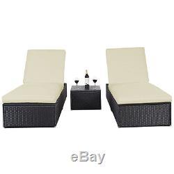 3 Piece Wicker Rattan Chaise Lounge Chair Set Patio Steel Furniture Black Wicker