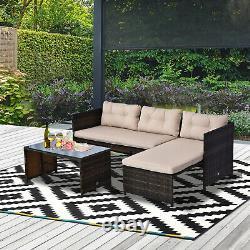 3-Piece Wicker Rattan Patio Set, Incl. Sofa, Chair, & Coffee Table, Brown