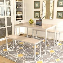 3 Piece Wooden Dining Sets Table and 2 Benches Chair Kitchen Furniture Beige