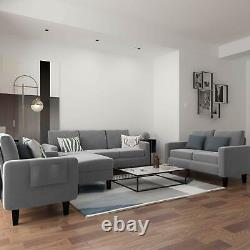 3 Pieces Living Room Sofa Set, 3 Seat Sofa Couch Loveseat Single Sofa Chair Grey