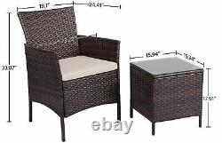 3 Pieces Patio Furniture Sets PE Rattan Wicker Chairs Beige Cushion with Table