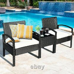 3 Pieces Patio Rattan Furniture Set Conversation Sofa Cushioned Coffee Table