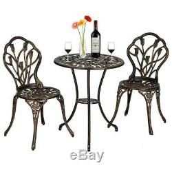 3PCS Cast Aluminum Outdoor 3 Piece Tulip Bistro Set of Table & Chairs