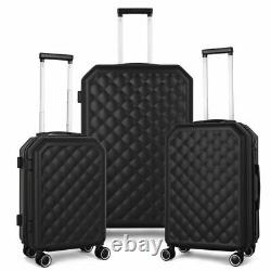 3Piece HardShell 360 Spinner Luggage Set for Carry-On Checked 20 24 28in Black