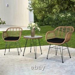 3piece Wicker Rattan Patio Outdoor Furniture Conversation Bistro Set Garden New