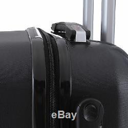 4 Piece ABS Luggage Set Light Travel Case Hardshell Suitcase 16202428 Black
