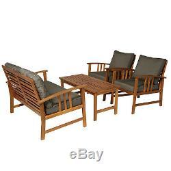 4 Piece Acacia Wood Outdoor Patio Furniture Conversation Set Teak/Grey