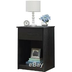 4 Piece Bedroom Set Furniture Queen Size Modern Bed Nightstands Black Dresser