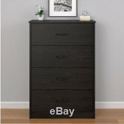 4 Piece Bedroom Set Furniture Queen Size Modern Bed Nightstands Black Dresser