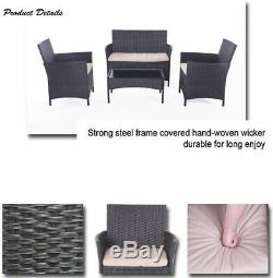 4 Piece Outdoor Rattan Sofa Patio Furniture Set All Weather Wicker Chairs&Table
