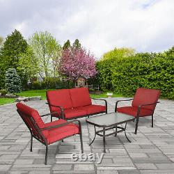 4-Piece Patio Furniture Set Table Chairs Sofa Outdoor Seating Conversation Sets