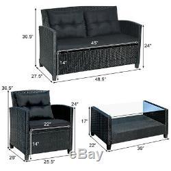 4-Piece Patio Rattan Wicker Conversation Furniture Set Soft Cushion Chairs Table
